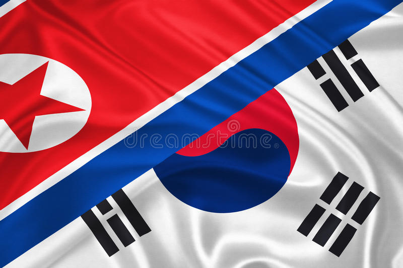 Flag of South Korea. Flag of South and North Korea waving with highly detailed textile texture pattern representing the Conflict between Koreas royalty free illustration