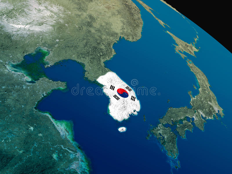 Download Flag Of South Korea From Space Stock Illustration - Image: 83723814