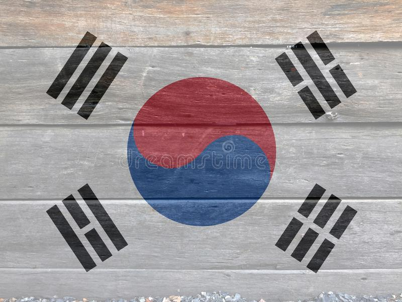 Flag of South Korea on wooden wall background. Grunge South Korean flag texture. royalty free stock photography