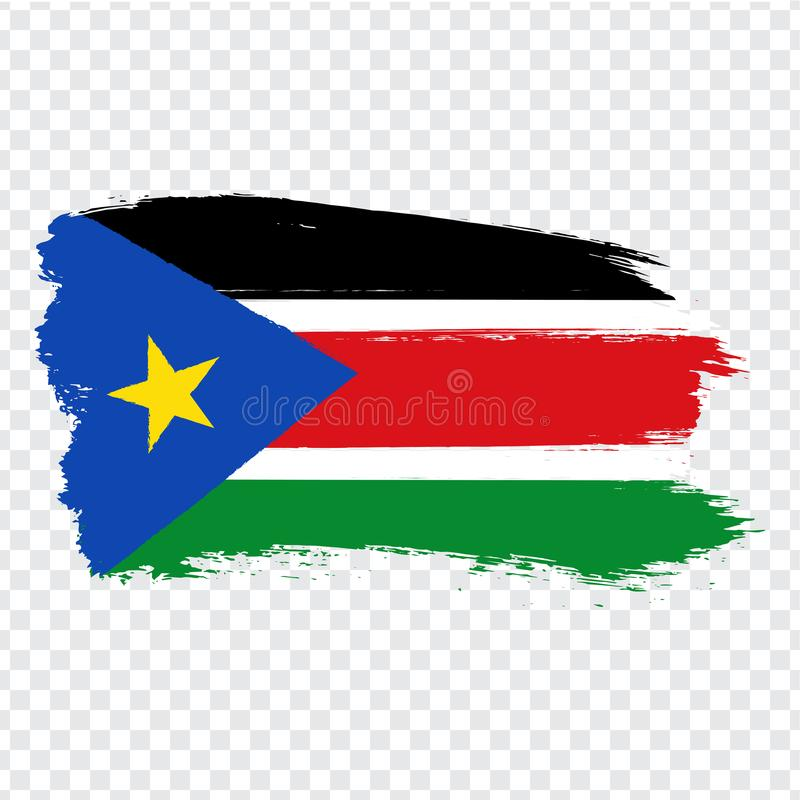 Flag Southern Sudan from brush strokes. Flag Republic of South Sudan on transparent background for your web site design, logo, app. UI.  Africa. Stock vector royalty free illustration