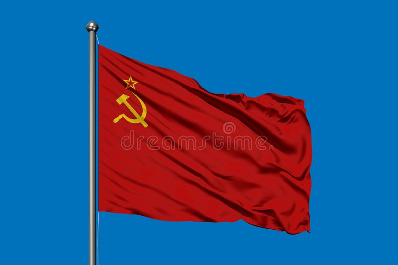 Flag of Soviet Union waving in the wind against deep blue sky. USSR Flag stock photography