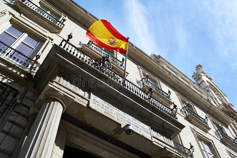 Flag of Spain on a government building stock images