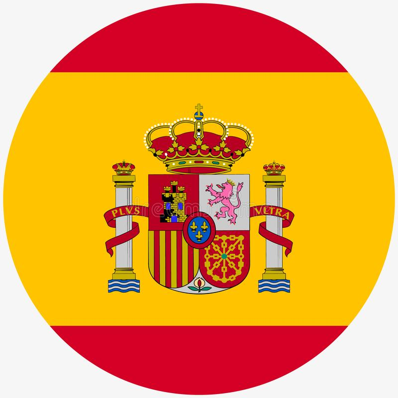 Flag of Spain, icon. Realistic color. Abstract concept on white background, The Spanish flag. Isolated on white background. stock illustration
