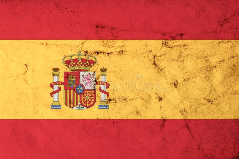 Flag of Spain with old dirty grunge texture. royalty free illustration