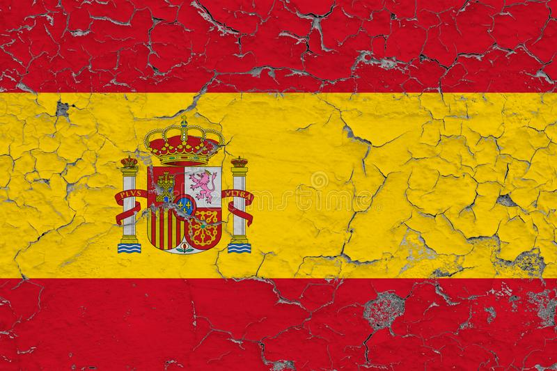 Flag of Spain painted on cracked dirty wall. National pattern on vintage style surface royalty free illustration