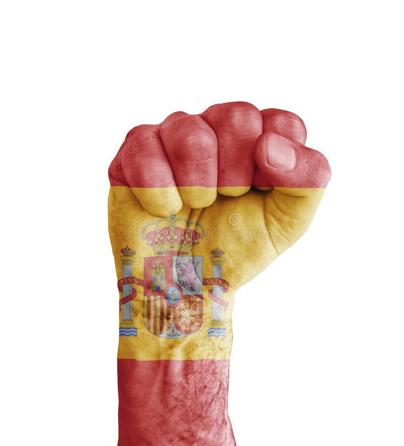 Flag of Spain painted on human fist like victory symbol royalty free stock photo