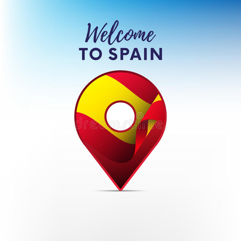 Flag of Spain in shape of map pointer. Spain flag. Welcome to Spain. Vector illustration. vector illustration