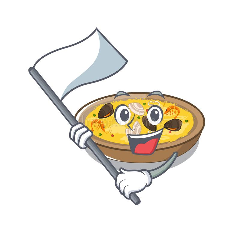 With flag spanish paella isolated in the character vector illustration