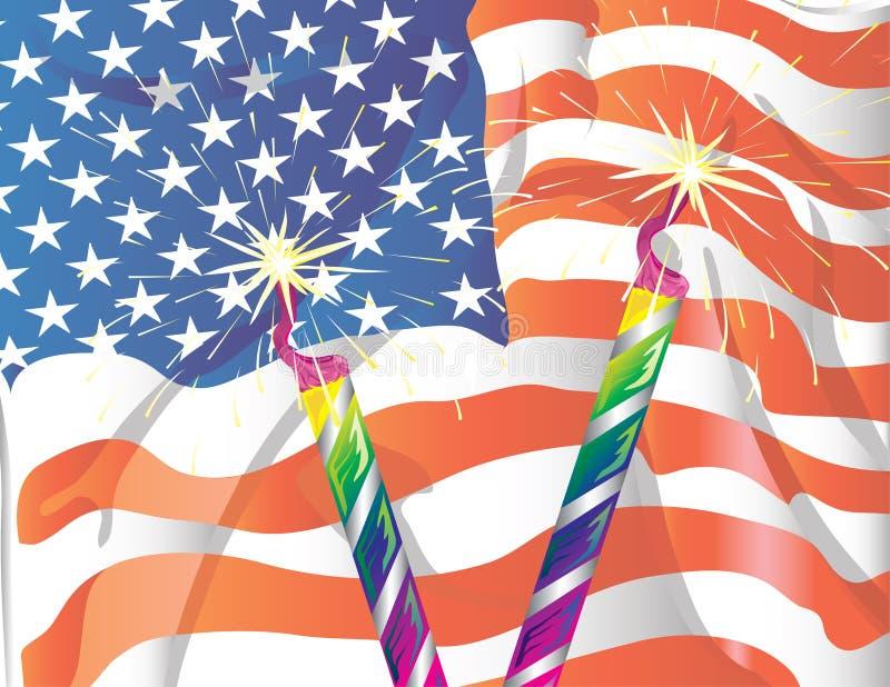 Flag and sparklers background vector illustration