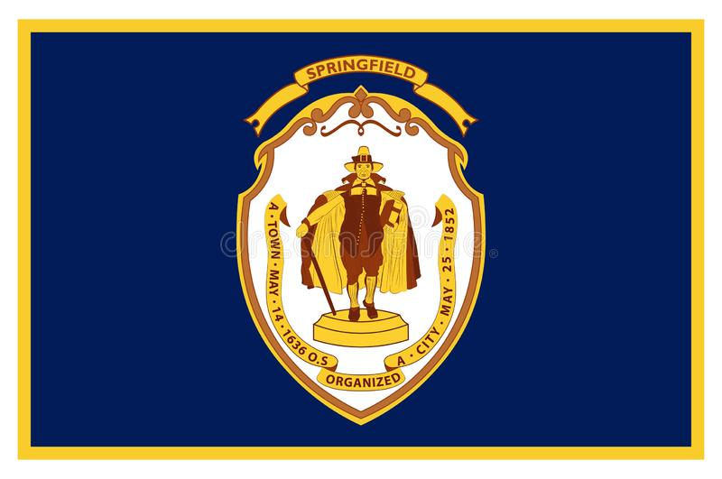 Flag of Springfield in Massachusetts state of USA royalty free stock photos