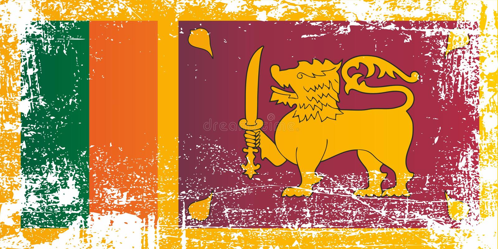 Flag of Sri Lanka, Democratic Socialist Republic of Sri Lanka. Wrinkled dirty spots. Can be used for design, stickers, souvenirs royalty free illustration