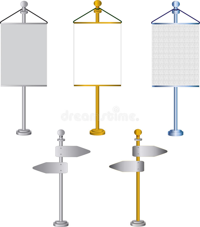 Download Flag Stands And Road Signs Isolated On White Backg Stock Vector - Image: 31277032