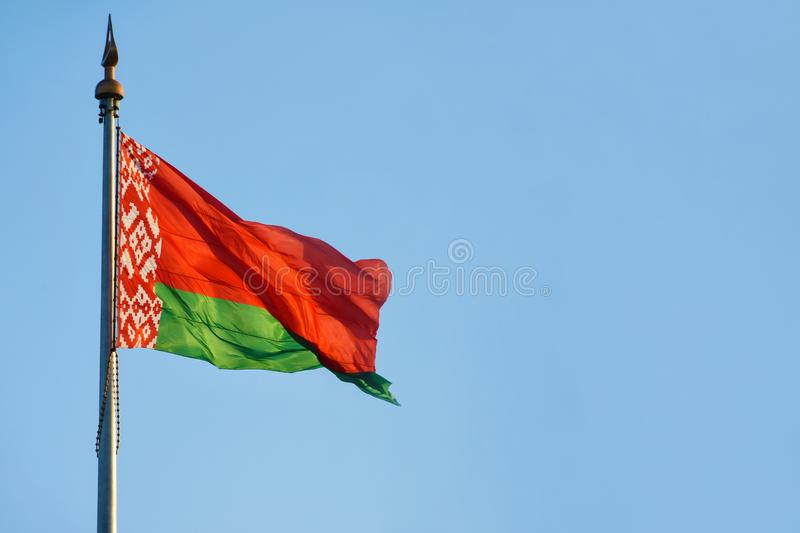 Flag, state, big, wind, Republic of Belarus, Europe, Palace of Independence, Lukashenko, sky background, open space, copy space, c royalty free stock image