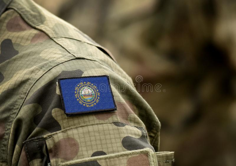 Flag the State of New Hampshire on military uniform. United States. USA, army, soldiers. Collage.  stock images