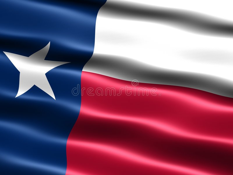 Flag of the state of Texas. Computer generated illustration of the flag of the state of Texas with silky appearance and waves royalty free illustration