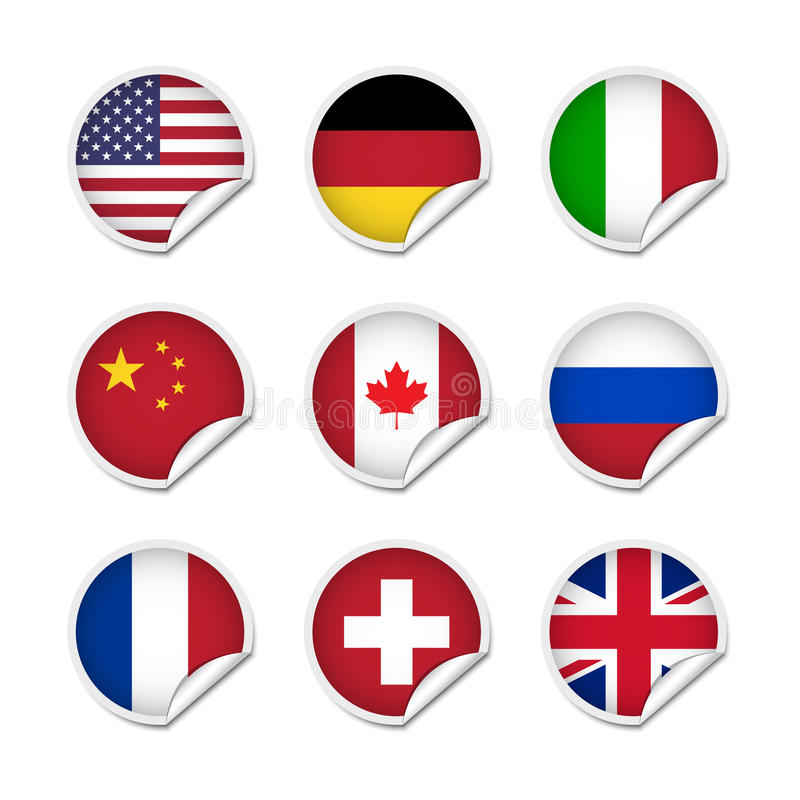 Flag Stickers Set 1 Stock Vector
