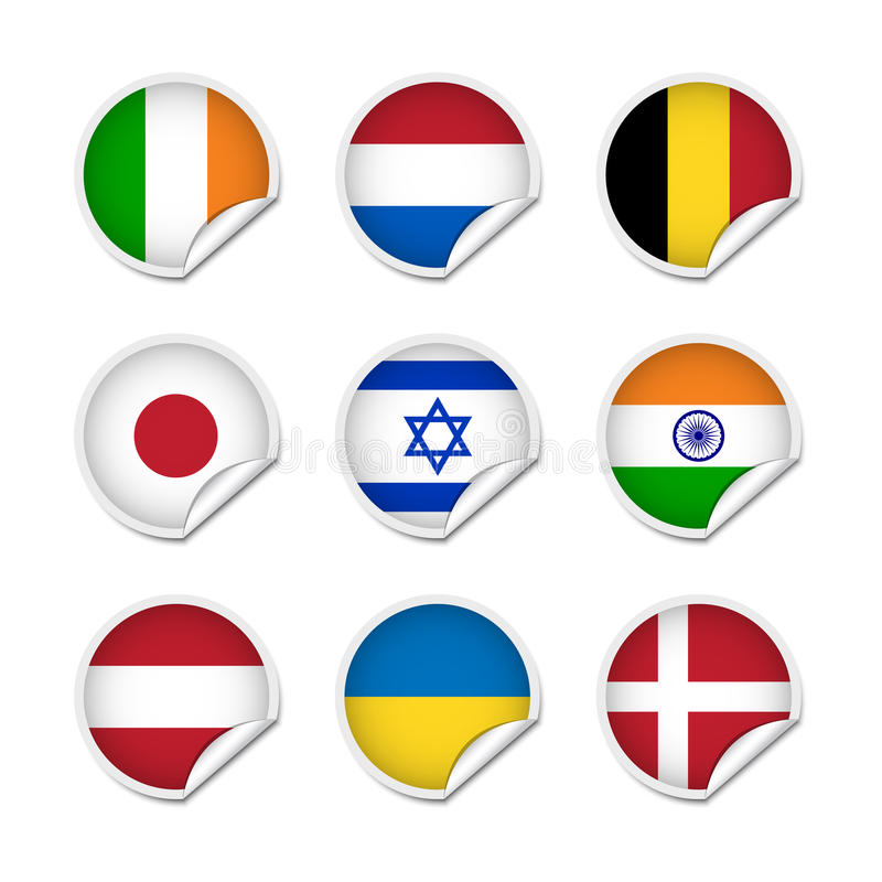 Flag stickers set 2 vector illustration
