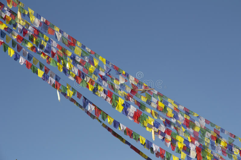 Flag of Stupa of Buddhist Temple in Nepal stock photo