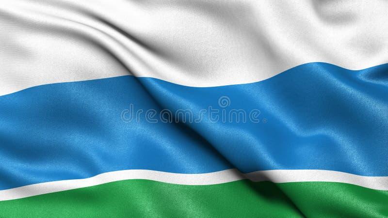 Flag of Sverdlovsk Oblast waving in the wind. 3D illustration stock images