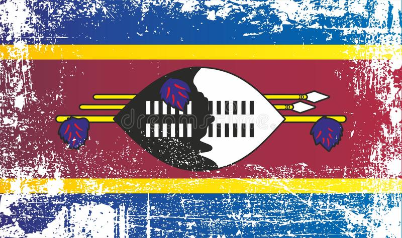 Flag of Swaziland, Kingdom of Swaziland. Wrinkled dirty spots. Can be used for design, stickers, souvenirs royalty free illustration