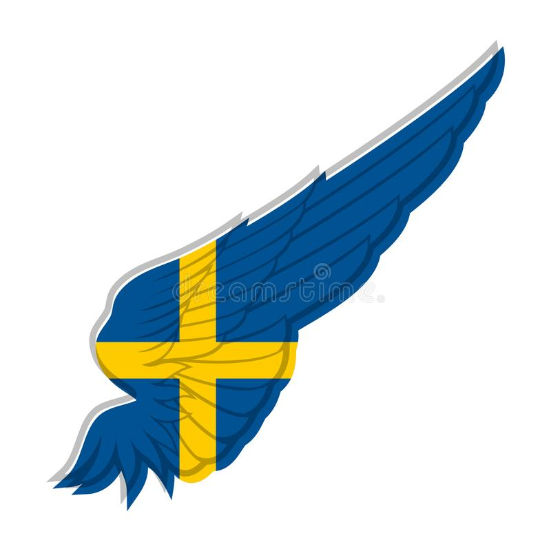 Flag of Sweden on abstract Wing and white background. Vector ill royalty free illustration