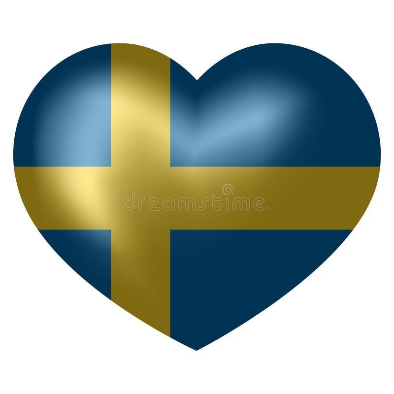Flag of Sweden in heart shape. vector illustration. stock illustration