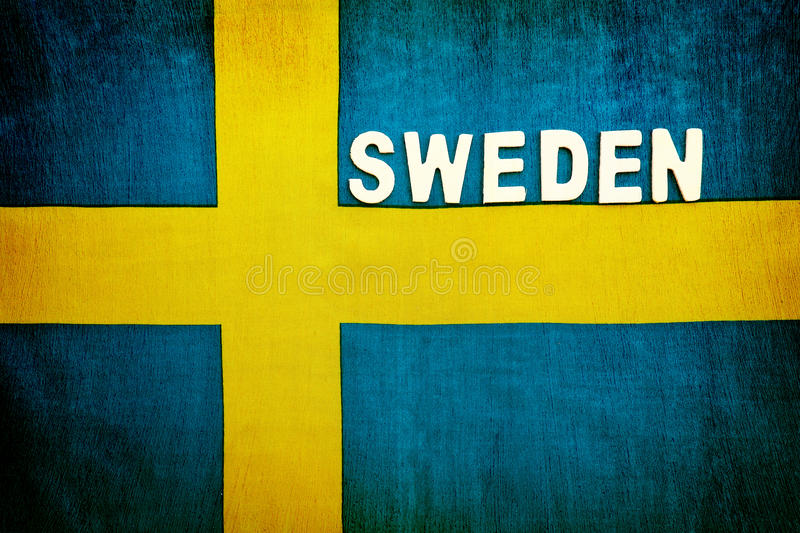 Flag of Sweden. National symbol, abstract background with space for text, patriotic wallpaper, background for football fans stock photos