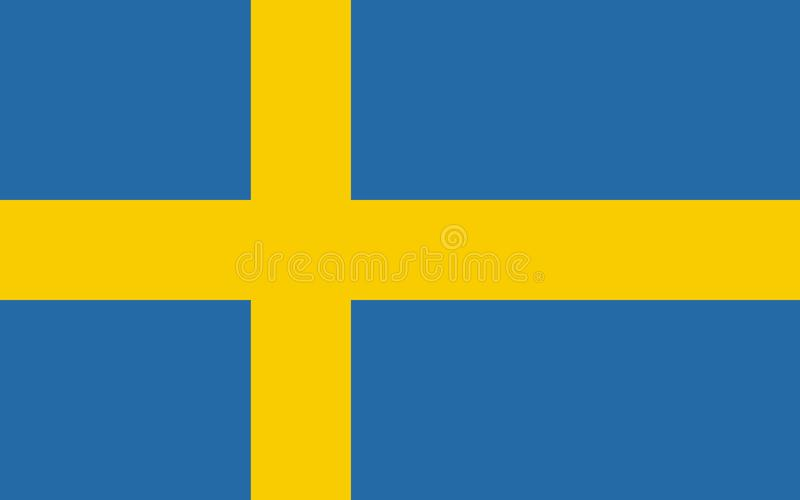 Flag of Sweden in official rate and colors, vector royalty free illustration