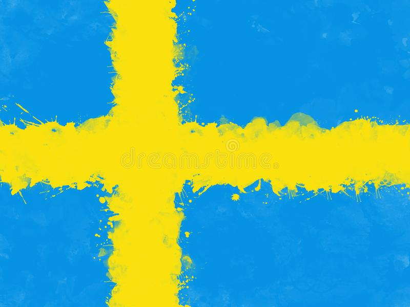 Flag of Sweden by watercolor paint brush, grunge style vector illustration