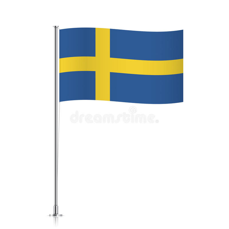 Flag of Sweden waving on a metallic pole. vector illustration
