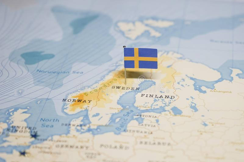 The Flag of sweden in the world map stock photos