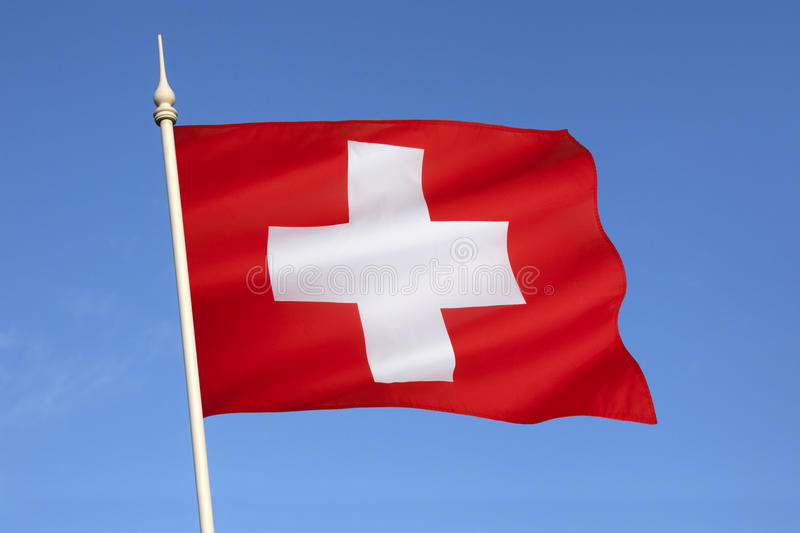 Flag of Switzerland - Europe. The flag of the central European country of Switzerland. It was introduced as the official Swiss national flag in 1889 stock image