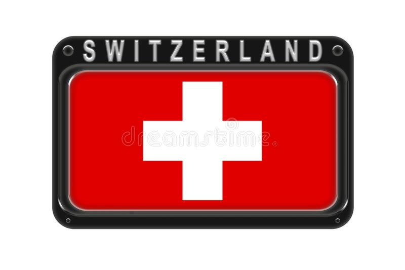 The flag of Switzerland in the frame with rivets on white background vector illustration