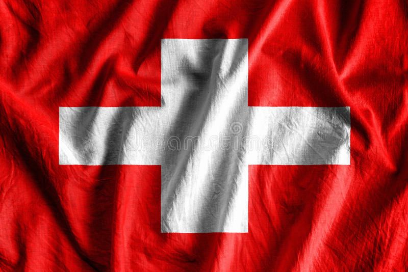 Flag of Switzerland. Waving flag of Switzerland - color royalty free stock images