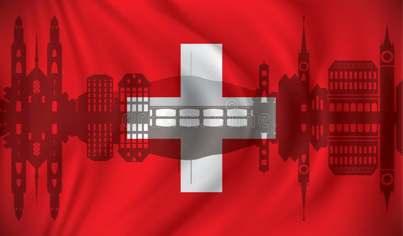 Flag of Switzerland with Zurich skyline stock illustration