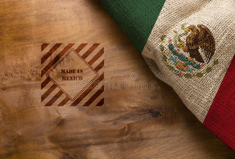Flag and symbol made in Mexico stock images