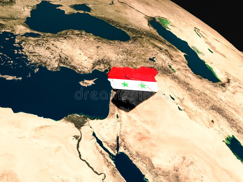 Download Flag Of Syria From Space Stock Illustration - Image: 83723255