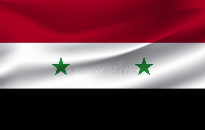 The Flag Of The Syrian Arab Republic waving stock illustration