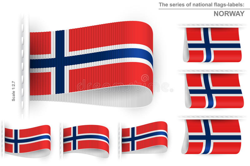 Flag Tag Clothes Label Sticker Sewn Set Norway vector illustration