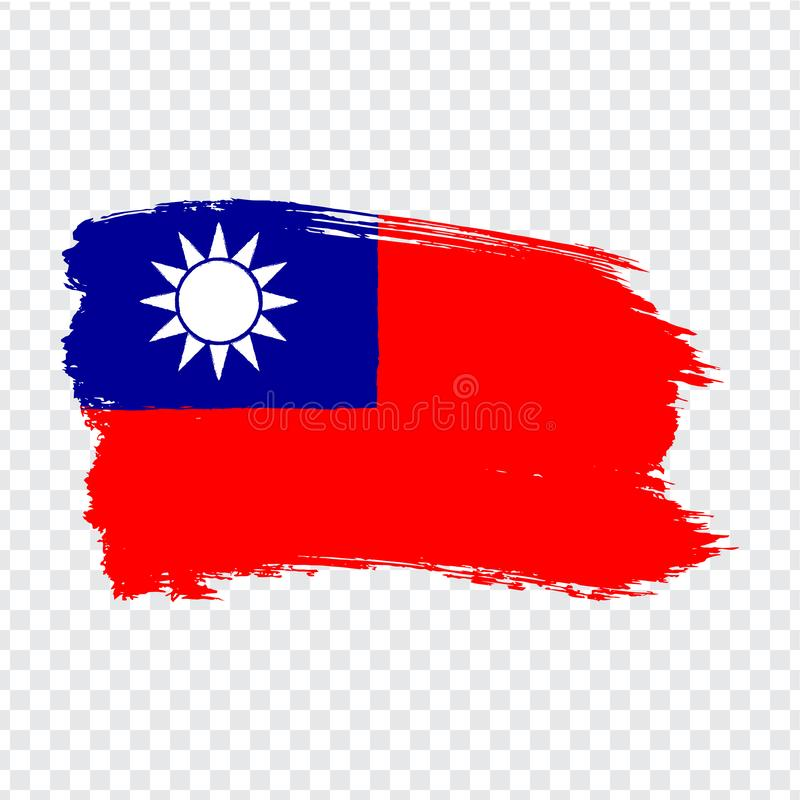 Flag Taiwan from brush strokes. Flag of  Taiwan on transparent background for your web site design, logo, app, UI. vector illustration
