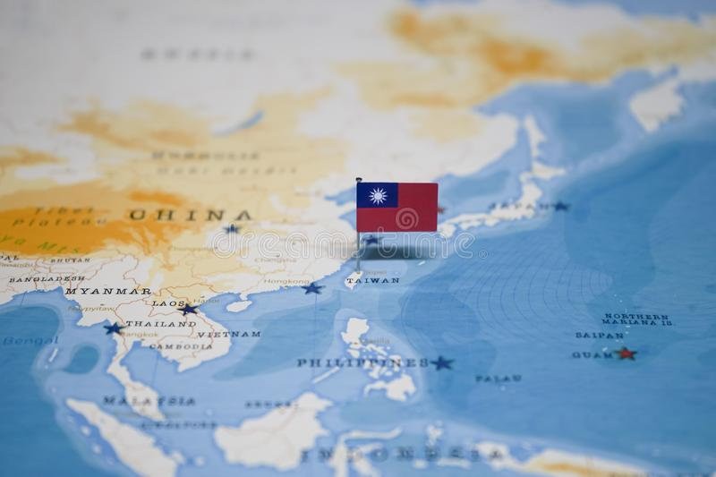 The Flag of taiwan in the world map royalty free stock photo