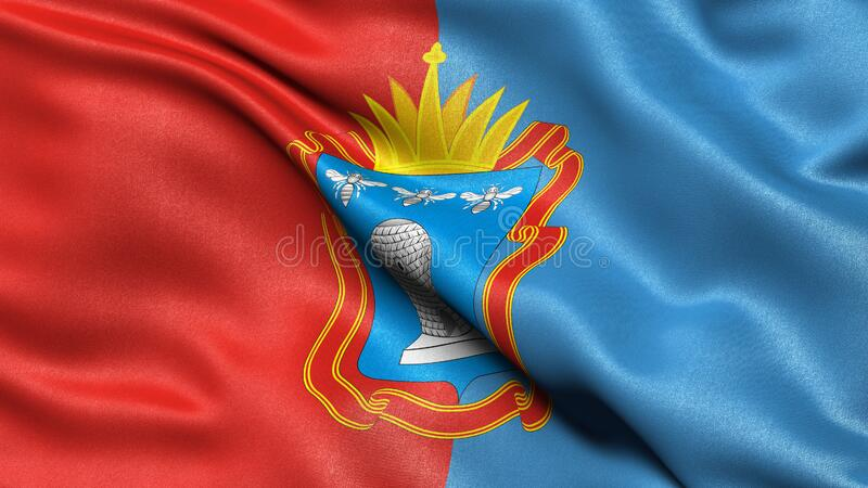 Flag of Tambov Oblast waving in the wind. 3D illustration royalty free stock photos