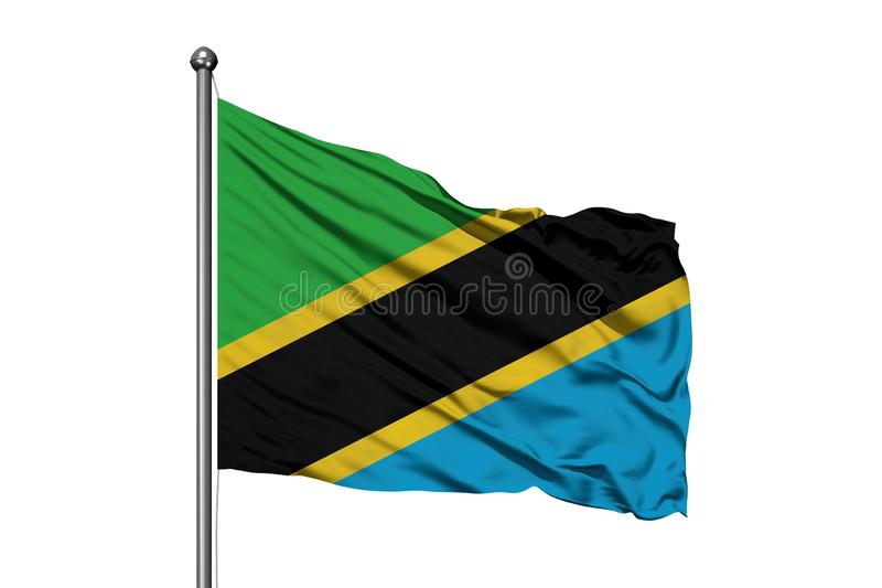 Flag of Tanzania waving in the wind, isolated white background. Tanzanian flag.  royalty free stock photography
