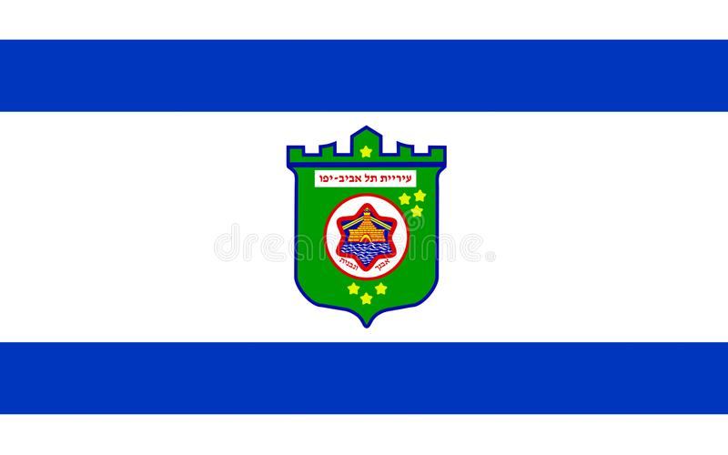 Flag of Tel Aviv, Israel. Flag of Tel Aviv is a major city in Israel, the second-most populous city administered by the Israeli government after Jerusalem stock illustration
