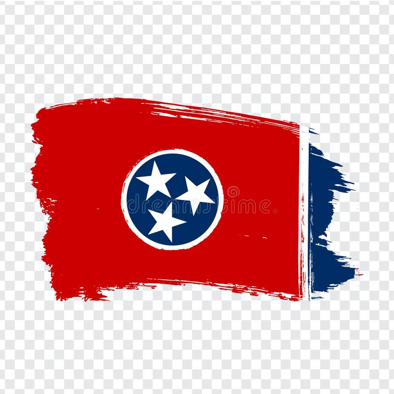 Flag of  Tennessee from brush strokes. United States of America.  Flag Tennessee on transparent background for your web site desig stock illustration