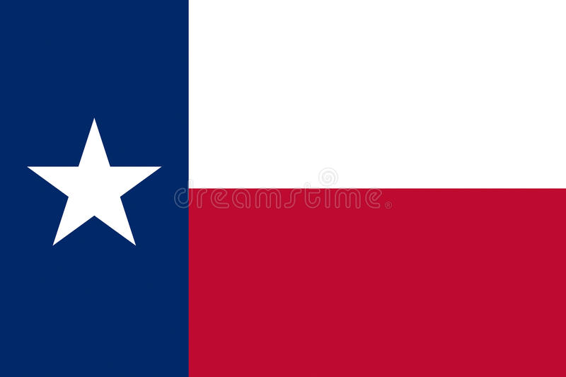 Flag of Texas. Illustration of the flag of Texas state in America stock illustration