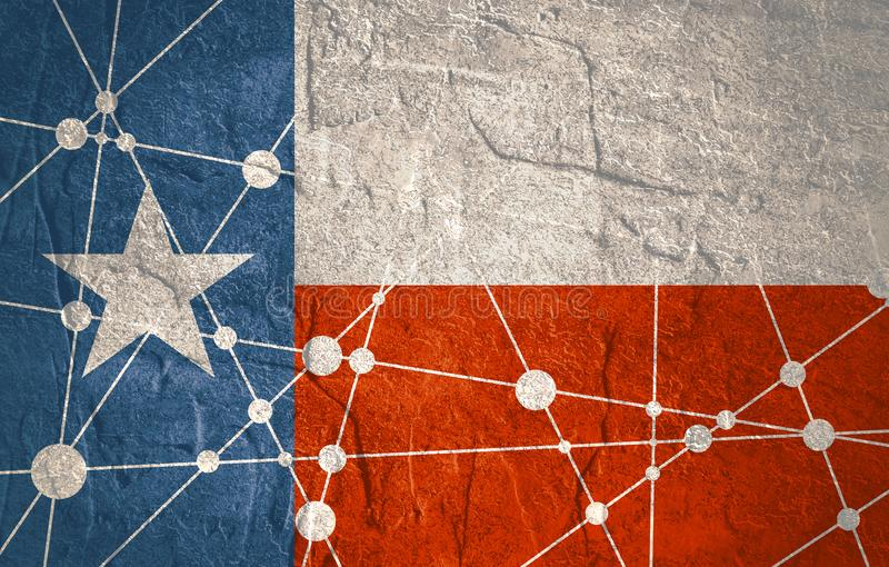 Texas flag concept. Flag of the Texas. Low poly concept triangular style. Molecule and communication background. Connected lines with dots. Gradient painting royalty free stock photos