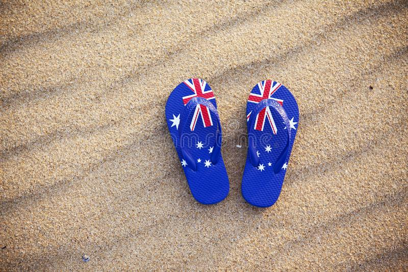 Flag Thongs Beach Australia stock photos
