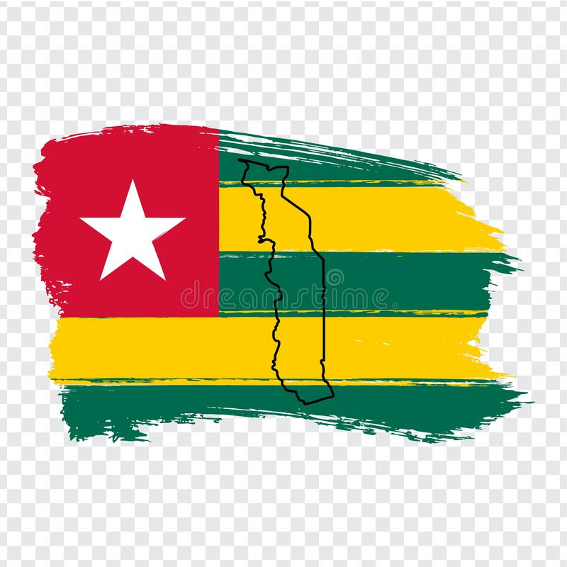 Free Flag Togo From Brush Strokes And Blank Map Of Togo. High Quality Map Togo And Flag On Transparent Background For Your Web Site Des Stock Photo - 160814480
