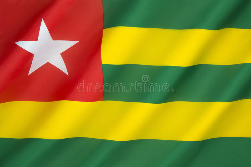 Flag of Togo. It uses the popular pan-African colors and was adopted on April 27th 1960 royalty free stock images